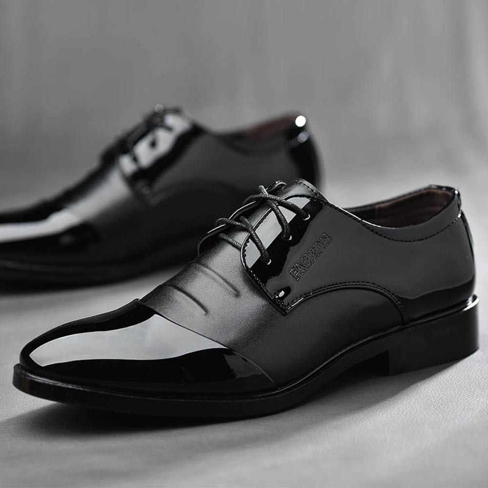 Thương Hiệu Cao Cấp Cổ Điển Người Mũi Nhọn Đầm Giày Nam Bằng Sáng Chế Da Đen Cưới Giày Oxford Trọng Size Lớn Thời Trang