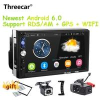 Threecar 2 din Android 6.0 universal Car Radio Mirror link android radio RDS/AM Player GPS NAVIGATION WIFI Bluetooth MP5 Player