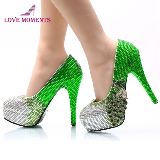 333d1ab7b15 Luxurious Cinderella Prom Shoes Green with Silver Rhinestone Wedding High  Heel Shoes Fashion Bridal Dress Shoes Party Pumps