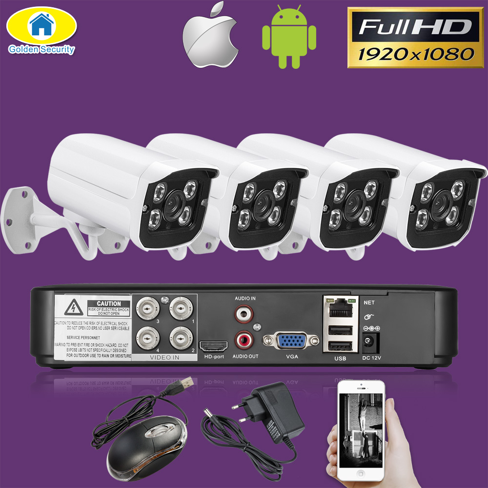 Golden Security 4CH CCTV Camera System 4Pcs 1080P AHD DVR 3000TVL IR Night Vision Outdoor Security