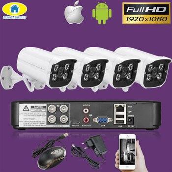 Золотой безопасности 4CH CCTV камера системы 4 шт. 1080 P AHD DVR 3000TVL ИК Ночное Видение Открытый безопасности комплект видеонаблюдения