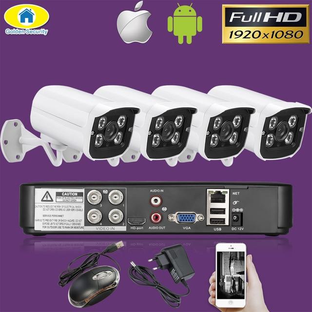 Золотой безопасности 4CH CCTV камера системы 4 шт. 1080 P AHD DVR 3000TVL ИК ночного видения наружная камера безопасности комплект системы охранного виде...