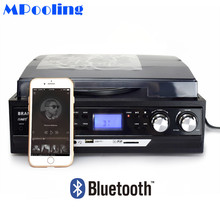 MPOOLING Bluetooth Vinyl Record Player 3 Speed Belt-drive Turntable Cassette Player MP3 Player USB Recorder AC110V~130V/220~240V