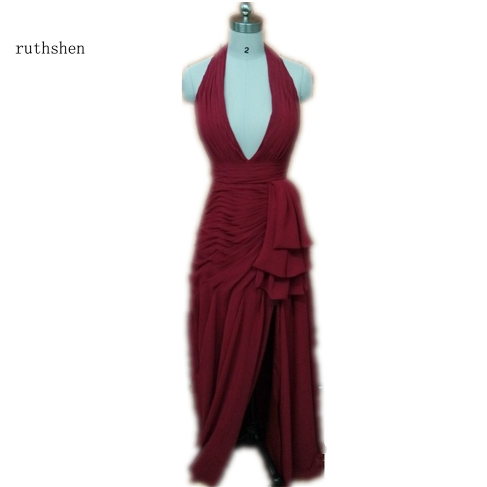 ruthshen   Bridesmaid     Dresses   Cheap With Halter Neck Red Pleats Chiffon Long Wedding Party   Dress