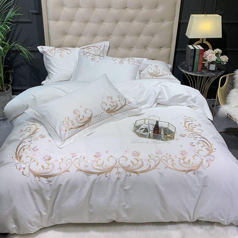 Biały różowy pościel z egipskiej bawełny elegancki haft poszewka na kołdrę zestaw ultra miękkie naturalne królowa łóżko typu king size arkusz poszewki na poduszki w Zestawy pościeli od Dom i ogród na  Grupa 3