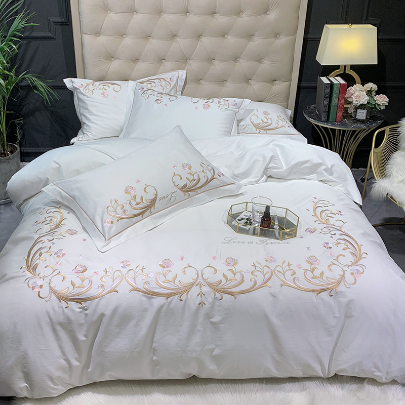 White Pink Egyptian Cotton Chic Embroidery Duvet Cover Bedding Set UItra Soft Natural Queen King size Bed sheet Pillow shams in Bedding Sets from Home Garden