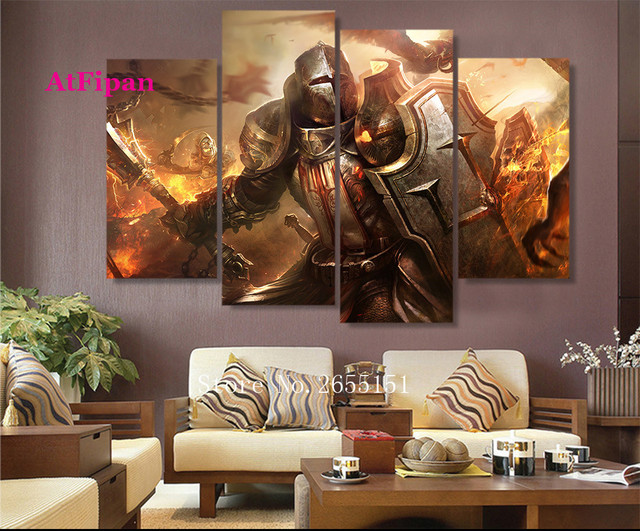 Wandbilder Wohnzimmer Leinwand ~ Atfipan wandkunst leinwand malerei crusader diablo wandbilder für