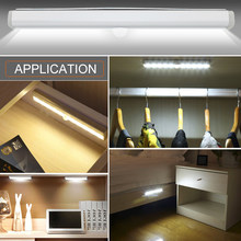 Led Under Cabinet Light With PIR Motion Sensor Lamp 6/10 LEDs 98/190mm Lighting For Wardrobe Cupboard Closet Kitchen Night Light(China)