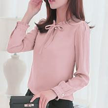 Women Office Work Wear Chiffon Blouse Shirt Female long sleeve Solid Bow Tops Female Stand Collar Elegant Ladies Shirt T8(China)