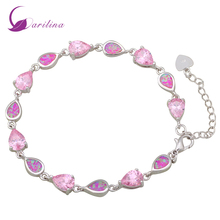 New Romantic Jewelry Pink Fire Opal 925 Sterling Silver Overlay Pink crystal Bracelets for womens 180mm 7.08 inch B349