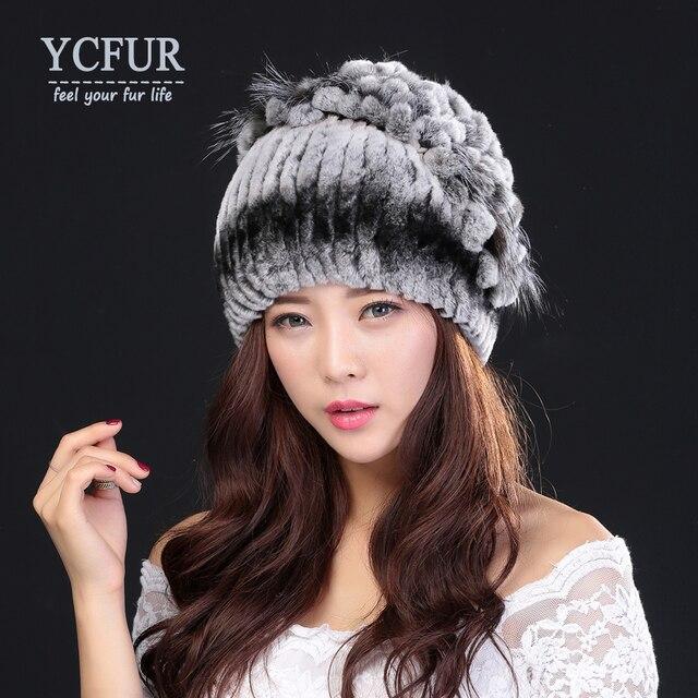 YCFUR 2016 Winter Fur Beanies Female Stripes Natural Rex Rabbit Fur Caps With Silver Fox Fur Hats For Ladies