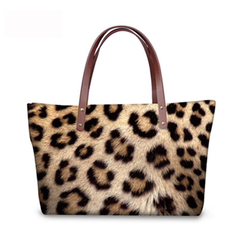 ff85b70d19 Nopersonality women handbags casual large women s shoulder bag Leopard Fur  Printed top-handle bags ladies tote high quality 2017