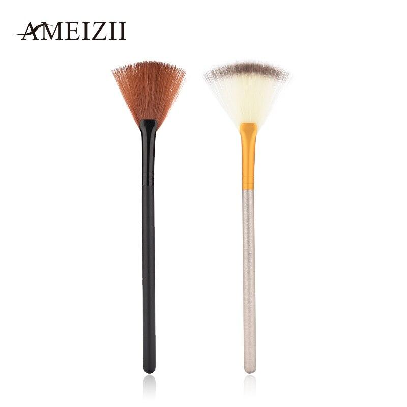 AMEIZII 1pcs Slim Fan Shaped Black Makeup Brush Powder Concealer Finishing Highlighter Cosmetic Make Up Tool For Face slim fan shape powder concealor blending finishing highlighter highlighting makeup brush nail art brush for makeup