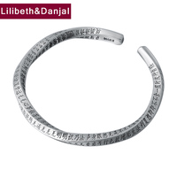 2019 Couple Opening Bangle 100% Real S999 sterling silver for Women Men Buddha Scripture Mantra LOVE Bracelet Bangle jewelry B15
