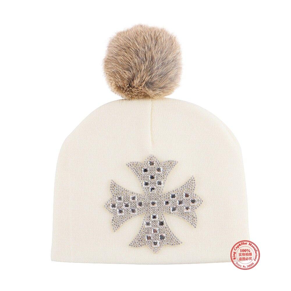 0 to 2 year girl boy baby cute winter beanie hat cap with cross rhinestone luxury hats real animal fur ball gorros kids skullies
