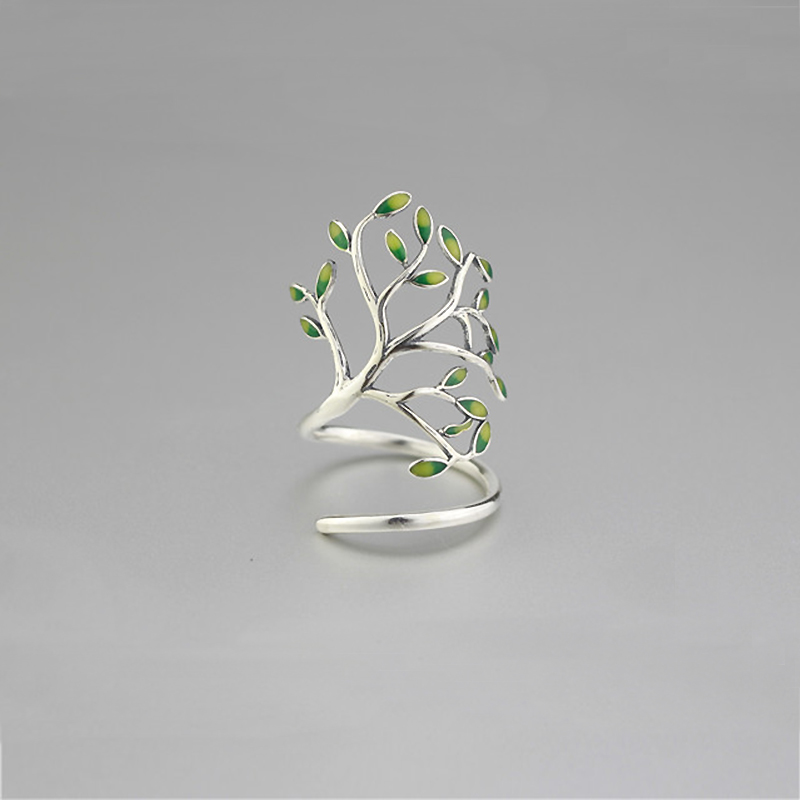 925 Sterling Silver Drop Glaze Leaves Open Rings For Women Original Handmade Lady Prevent Allergy Sterling-silver-jewelry YRI136