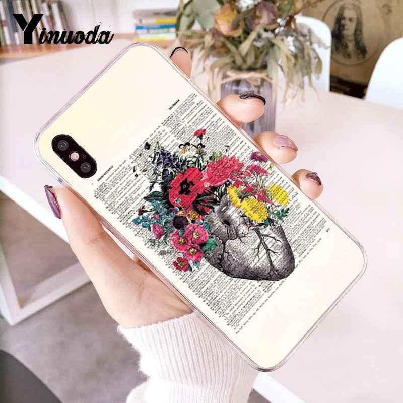Yinuoda medyczne ludzkie narządy mózgu Meridian szkielet serca żebra etui na telefony dla iPhone 8 7 6 6S Plus X XS MAX 5 5S SE XR 10