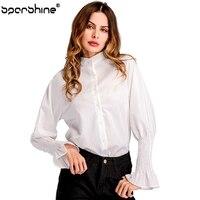 Turn Down Collar Blouse Women Floral Pure Color Cotton Women Blouse Korean Fashion White Shirt Long