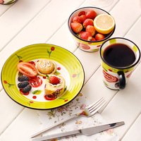 Ceramic Dinnerware Sets Western Style Handpainted Rose Printed Under Glazed Wedding Valentine Creative Gifts 12 Pieces Tableware
