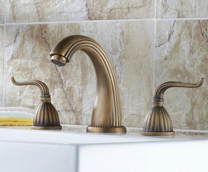 Antique Brass Three-hole Mount Dual Handle Bathroom Faucet Vanity Basin Faucet / Bath Tub Mixer Tap Cnf038