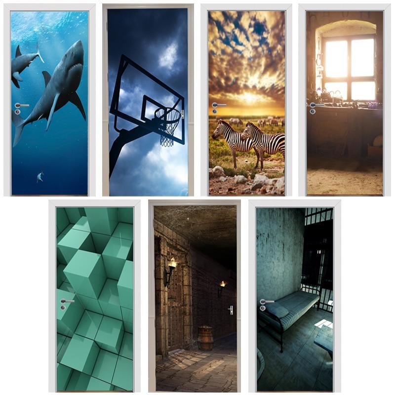 3D Door Stickers Old Windowsill Retro Dungeon Basketball Stand Deep Sea Shark Prairie Zebra Block Home Decoration Paste 77x200cm