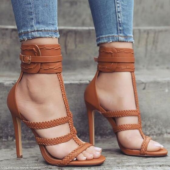 Summer New Brand Women Brown Beige Black Knitted Ropes Open Toe Buckle Strap High Heel Sandals Sexy Party Stiletto Heels Sandals summer open toe women suede buckle strap sandals comfortable thick heel party the new dress shoes pink beige black