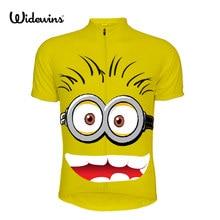 Jersey de Ciclismo para niños y niñas, ropa deportiva de manga corta con dibujo de persona, color amarillo, para verano, 5554