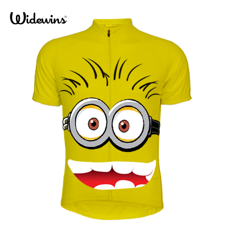Cartoon people Boy's Summer Cycling Jersey Mountain girls Bike Bicycle Sportswear Ciclismo short Sleeve Child Wear yellow 5554 image