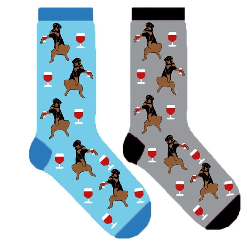 rottweiler socks women fun socks with wine and rottie cute dog pattern 20/50/100pairs