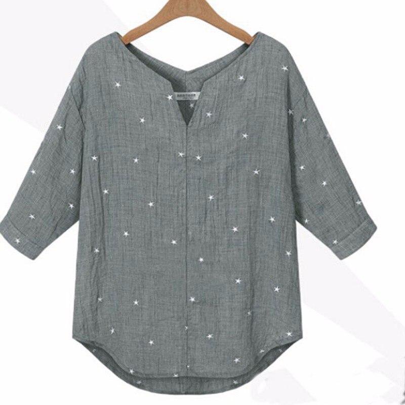 New 2017 Spring Summer Women Casual Loose Three Quarter Sleeve V Neck Star Printed Shirt Joker Shirt Blouse Top