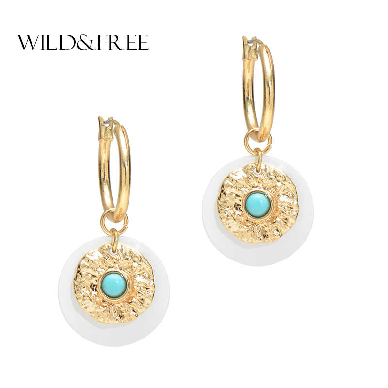 Wild&Free Boho Style Women Circle Round Hoop Earrings Blue Stone Gold Color Round Disc Charm Hoop Earring Fashion Jewelry
