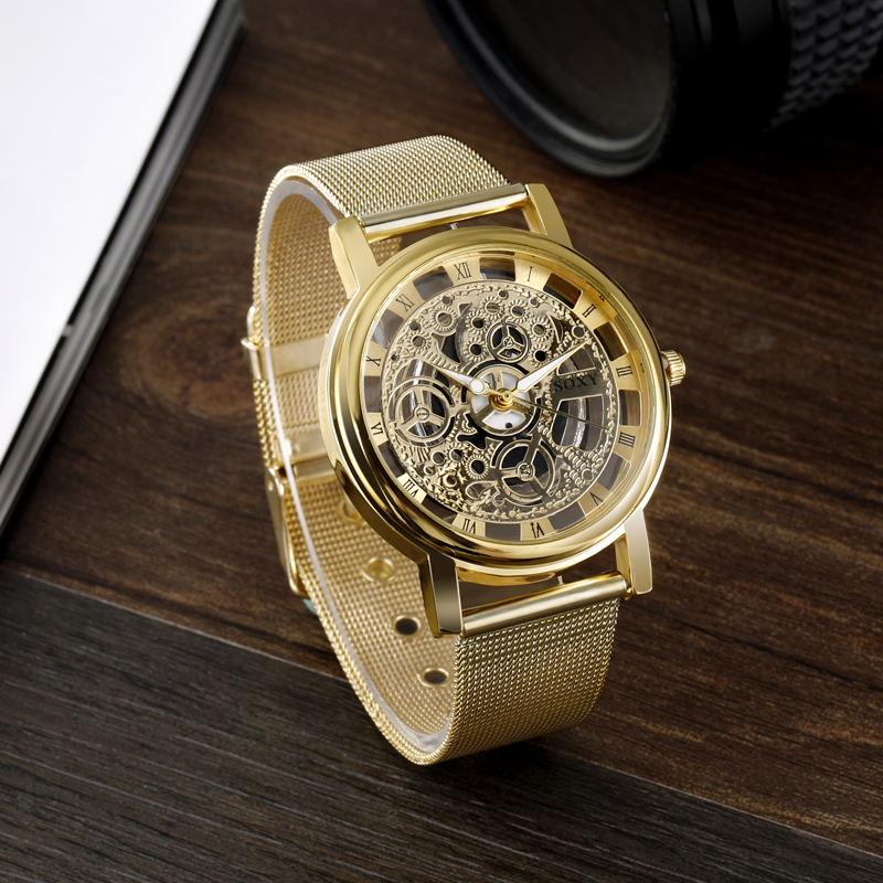 цены SOXY Luxury Skeleton Watch Men Gold Watch Mens Watches Steel Mesh Men's Watch Clock saat relogio masculino relojes hombre 2017