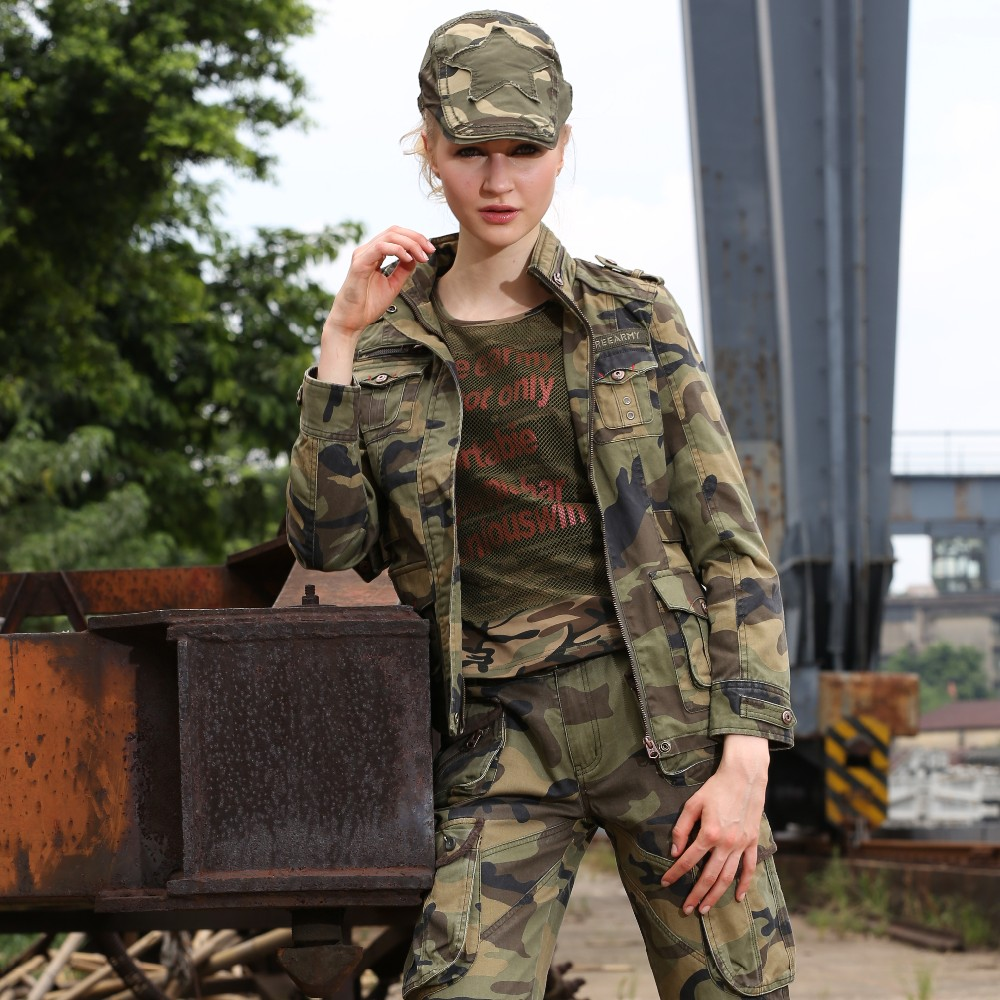 New Fashion Military Camouflage Womens Jacket Coat Autumn Stand - Women's Clothing - Photo 4