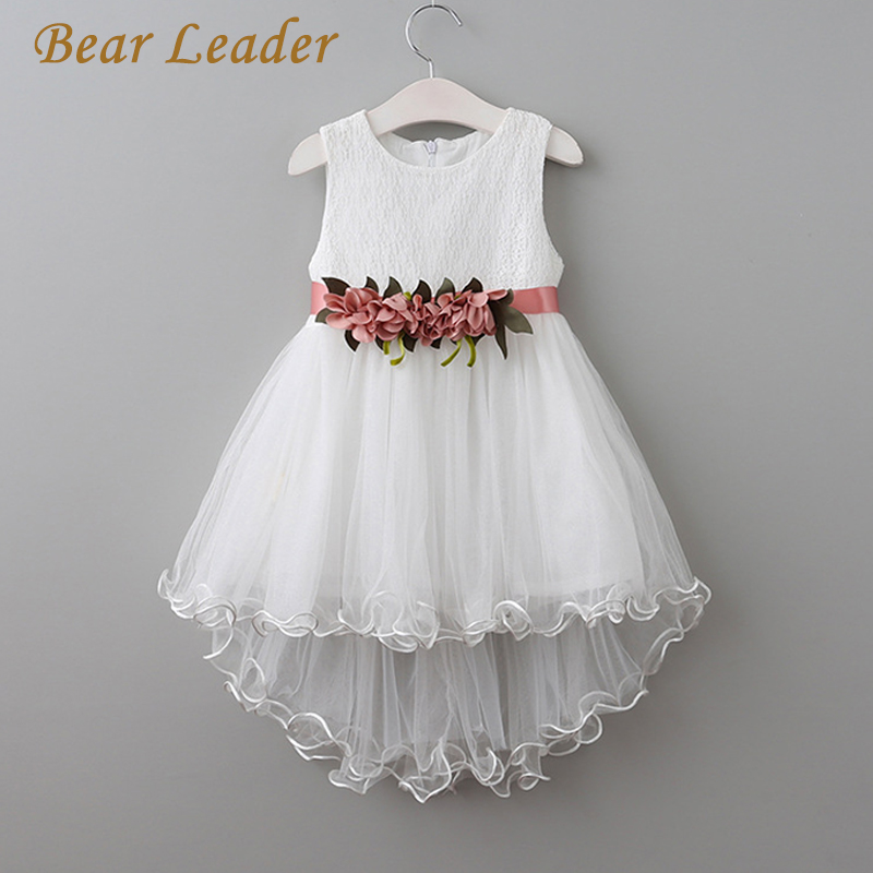 Bear Leader Girls Dress 2017New Summer Children Clothing Princess Flowers Belt Mermaid Style Party Dress 2 Colors Kids Clothes bear leader girls dress 2016 new summer style party dress stella the swallow embroidered sleeveless dress girls princess dress