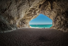 Laeacco Tropical Stone Cave Sea Beach Sand Baby Portrait Scenic Photographic Backgrounds Photography Backdrops For Photo Studio