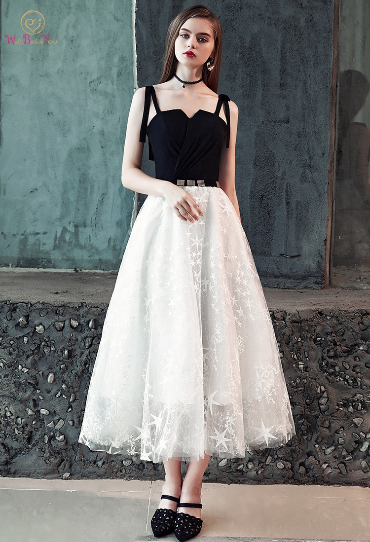 Black-White Lace Prom Dresses 2019 Tea Length Graduation A Line Spaghetti Straps Girl Walk Beside You Evening Gown Formal Simple
