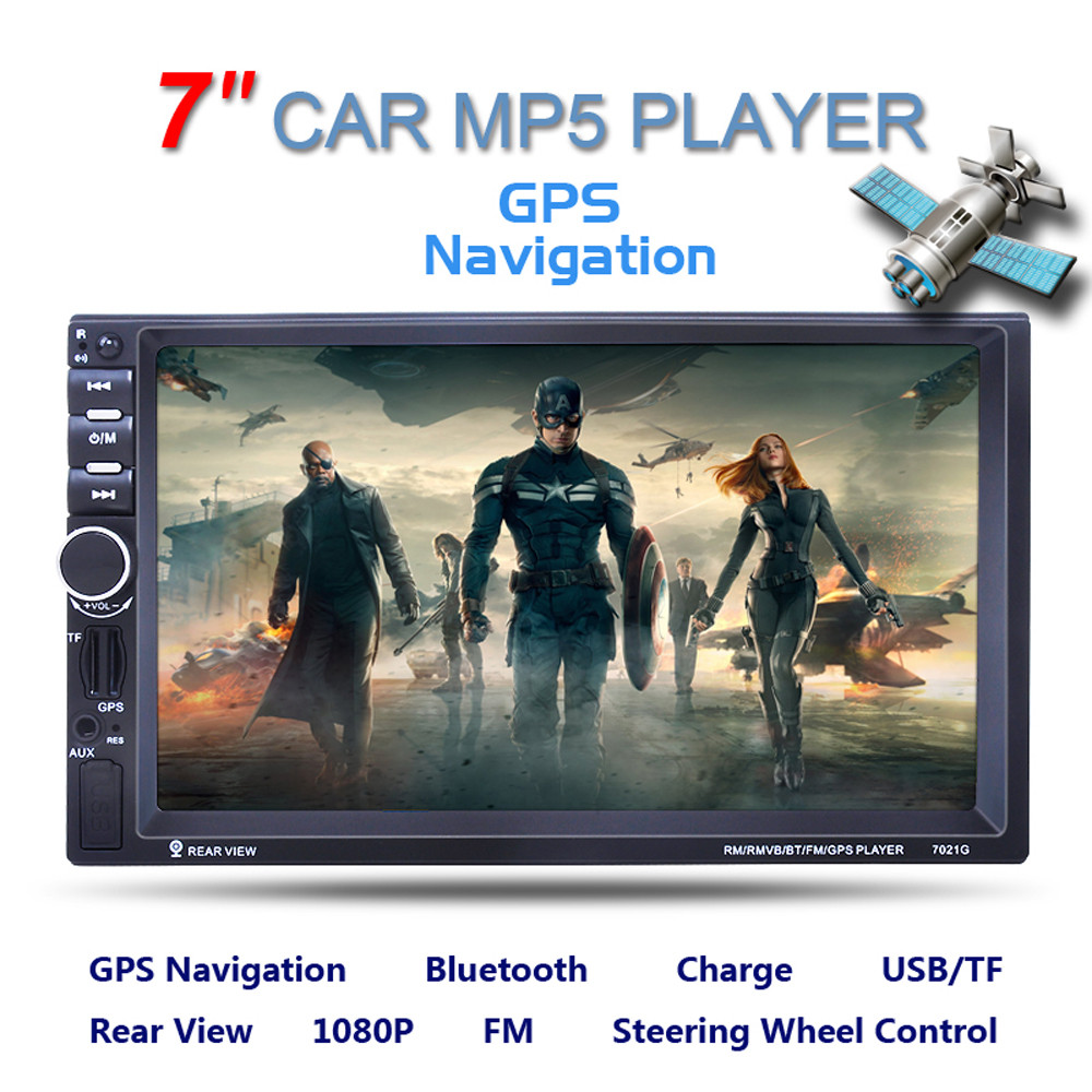 Double 2 DIN Car 7 MP3 MP5 Player Stereo FM Radio GPS Sat Nav Bluetooth USB AUX Fashion Item 17Sept14 7 inch double 2 din car stereo mp5 mp3