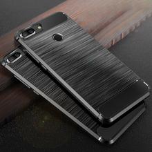 Dla Huawei Honor 9 Lite przypadku Honor9 Lite zderzak z włókna węglowego TPU silikonowa ochronna tylna pokrywa dla Huawei Honor9 Lite tanie tanio raugee Aneks Skrzynki carbon fiber brushed style Geometryczne Anti-knock