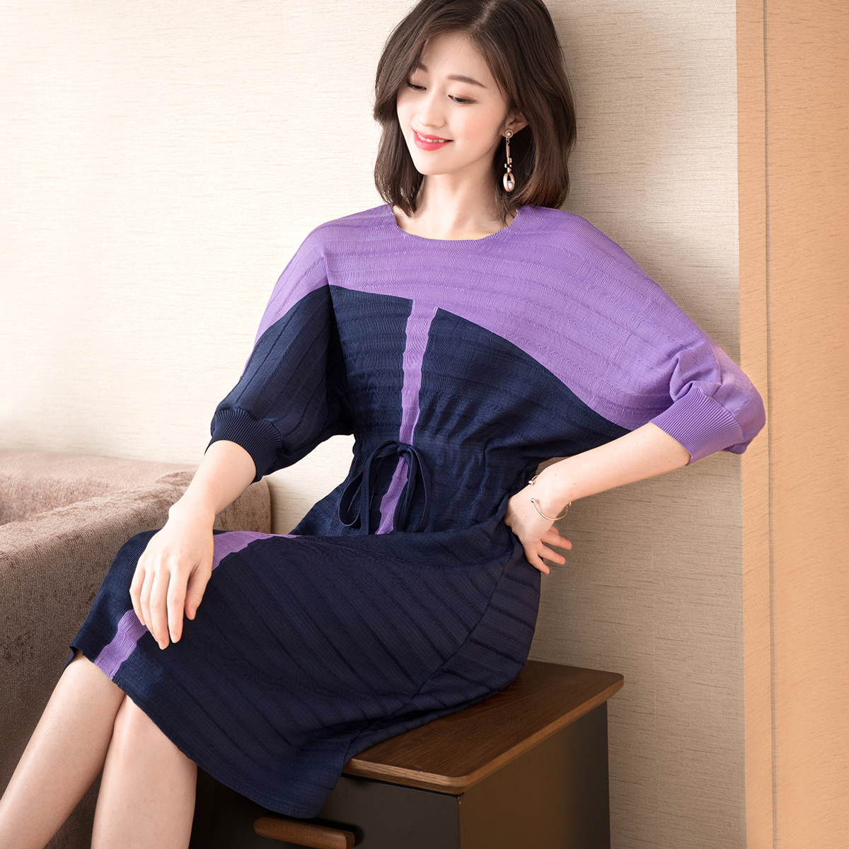Women's Clothing French Minority Dresses Summer 2019 New Fashion Sleeve Coloured Fashion Lace Body-shaping Folded A-shaped Dress Miyake Pleats Can Be Repeatedly Remolded.