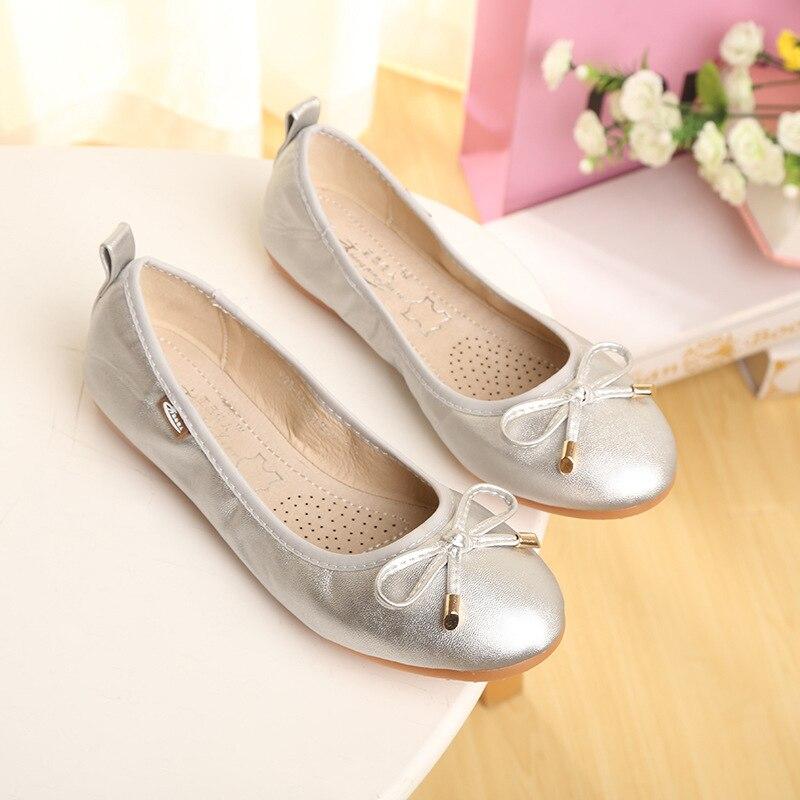 US $13.45 50% OFF|ZHENG PIN JIA REN Women's Shoes Rolls Shoes B1 New Round Head Sweet Single Shoes Bow Ballet For Pregnant Women Shoes in Women's