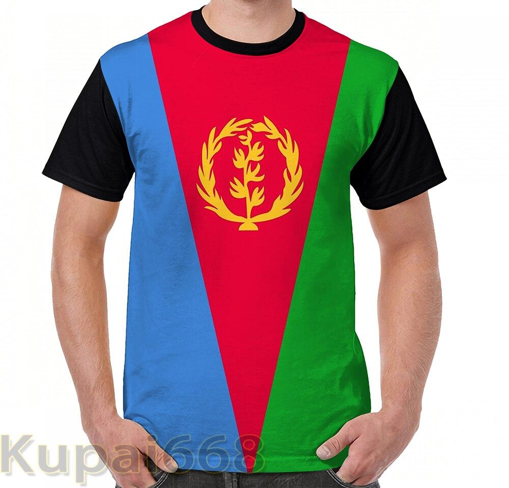 Забавная футболка с графическим принтом, мужские топы, футболки, баннер с флагом Эритреи, женская футболка с коротким рукавом, повседневные ...
