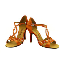 YOVE Dance Shoes Satin Women's Latin/ Salsa Dance Shoes 3.5″ Slim High Heel More color LD-7098