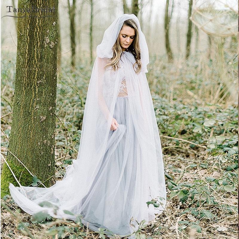 Two Layers Tulle Wedding Cloak With Hood Simple Fairy Boho Wedding Cape 2m Length  DJ098