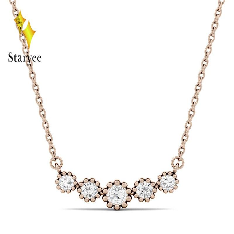Pendentif Moissanite couleur or Rose 18 K avec chaîne en or 18 K pour femmes en bijoux fins