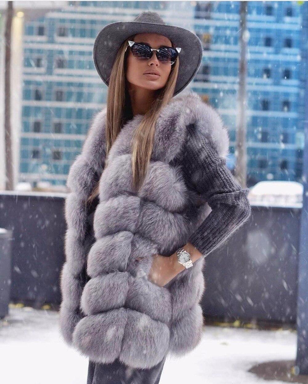 fox gilet vogue colores chalecos fur mujeres genuino Real 23 gwSxtpqx