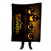 Halloween Pumpkin Printing Sherpa Throw Blanket Bohemian Mandala Fleece on The Bed Sofa Colorful Plaid