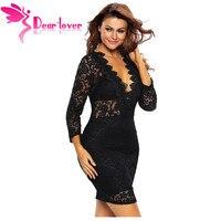Dear Lover Black Lace Dress Sexy Hollow Out Diamond Choker Red Night Club Mini Dress Summer