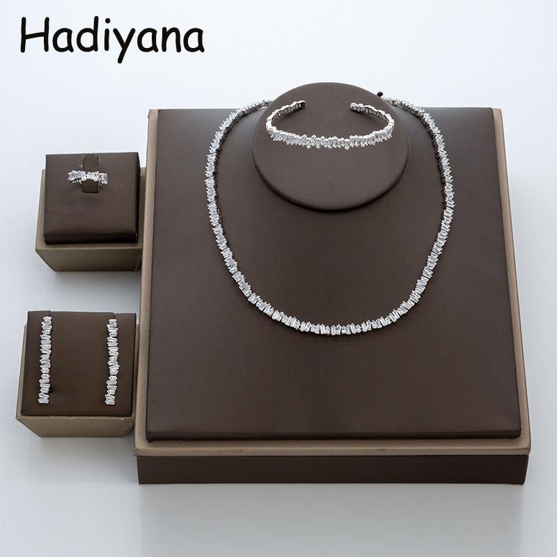 Hadiyana Fashion Irregural Paved Cubic Zinconia Costume Jewelry Set For Ladies Trendy Dubai Wedding Bridal Jewelry Sets TZ8014