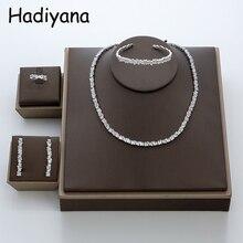 Hadiyana Conjunto de joyería para mujer, traje de Zinconia cúbica pavimentada, moda de Dubái, conjuntos de joyería nupcial, TZ8014