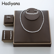 Hadiyana conjunto de joias para casamento, joias da moda irregural, macacão cúbico, joias para senhoras, trajes de noiva para casamento tz8014